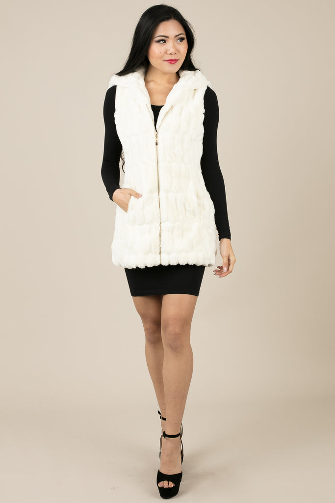 Ribbed Faux Fur White Lux Jacket