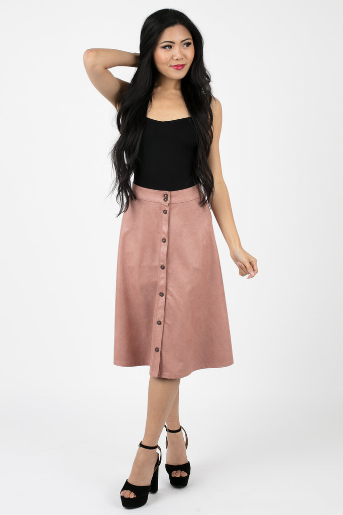 Crepe Pink Button Up Skirt