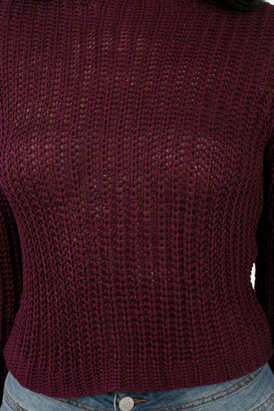 Merlot Knit Monica Crop Top