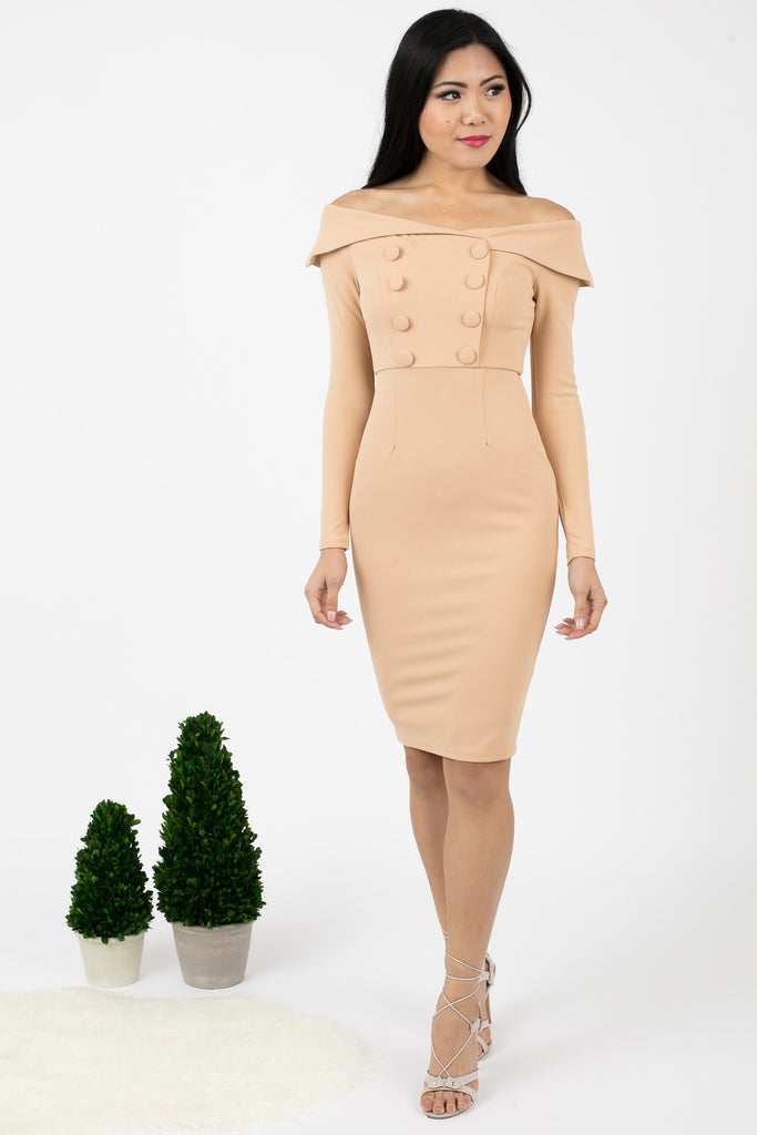 Beige Button Slay Midi Dress