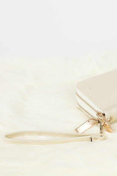 Shiny Cream Double Zipper Wallet