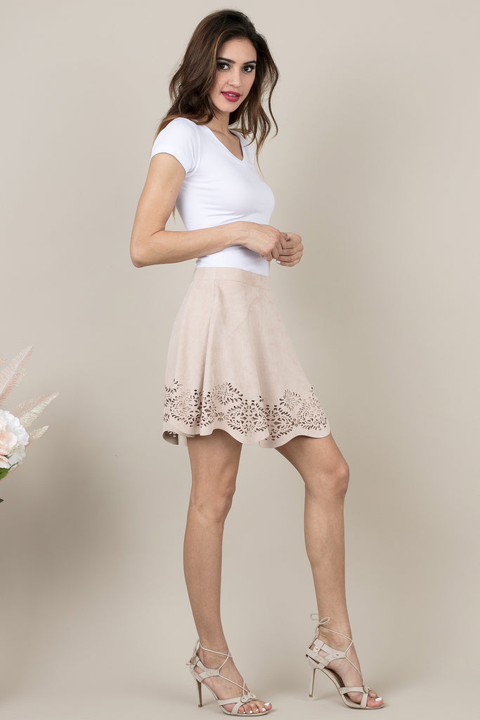Beige Laser Cut Skirt XO