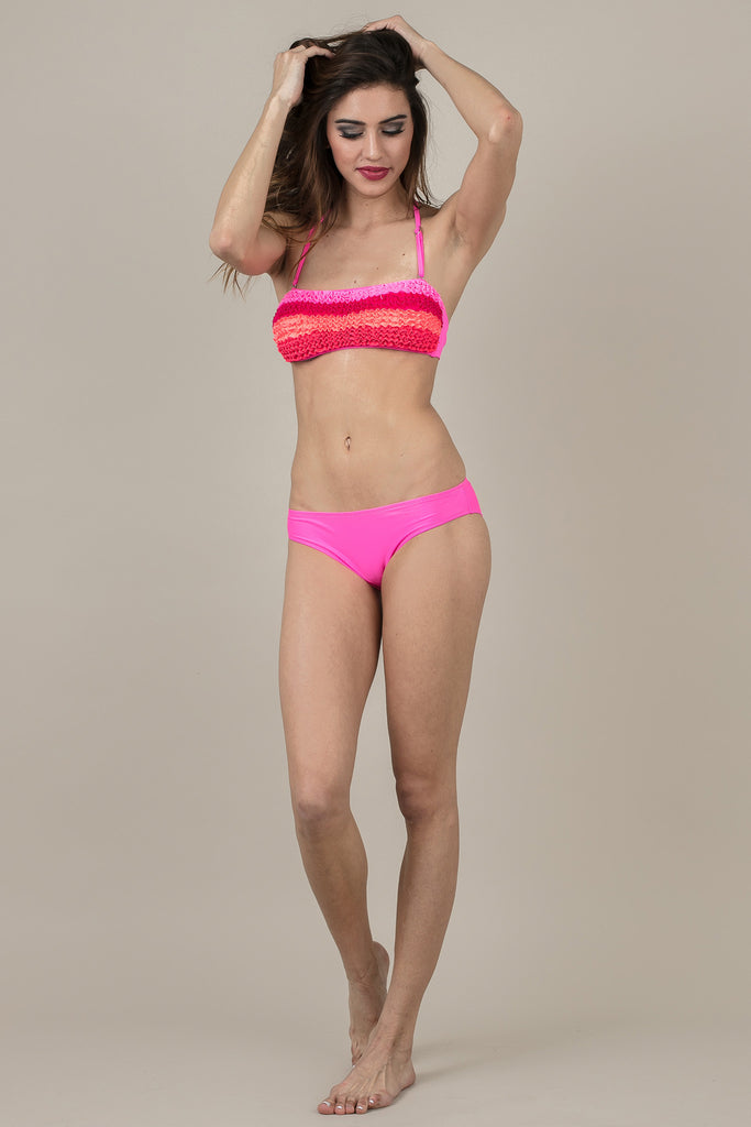 Multi Color Pink Ruffle Rosaline Swimsuit