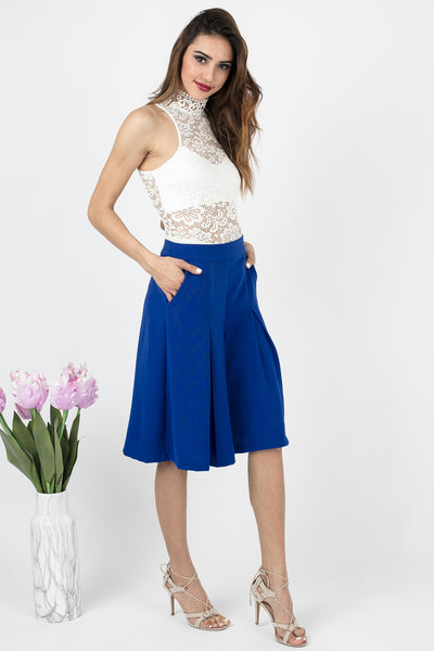 Cobalt Blue Adela Pleated Culottes