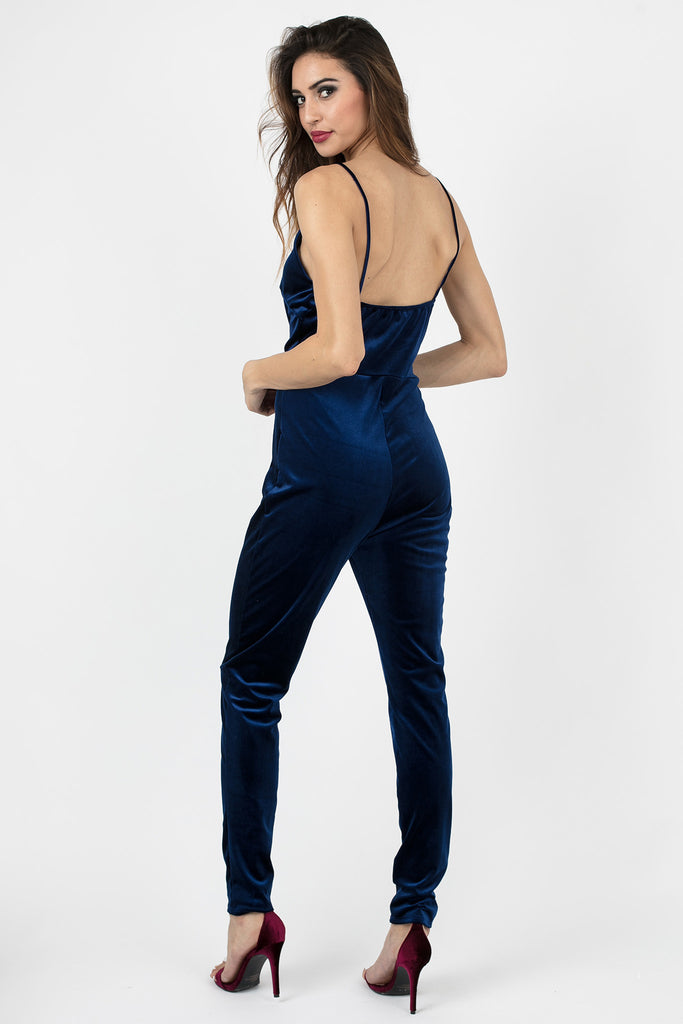 Nighttime Blue Velvet Jumpsuit