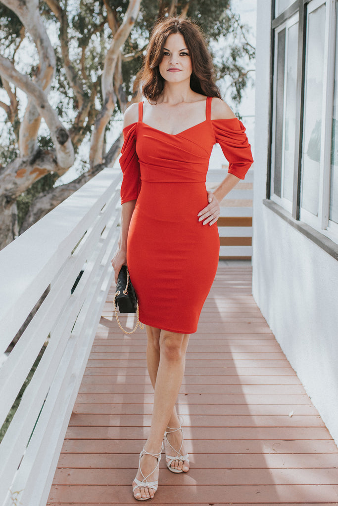 LETTER OF LOVE OFF THE SHOULDER RED DRESS