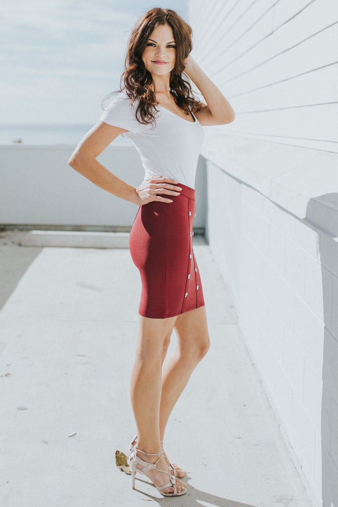 ALL SHE WANTS BURGUNDY BODYCON SKIRT