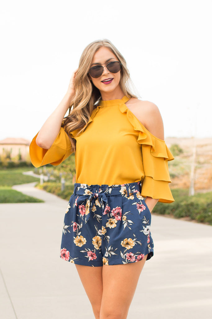 FLORAL BLUE HIGH WAISTED SHORTS