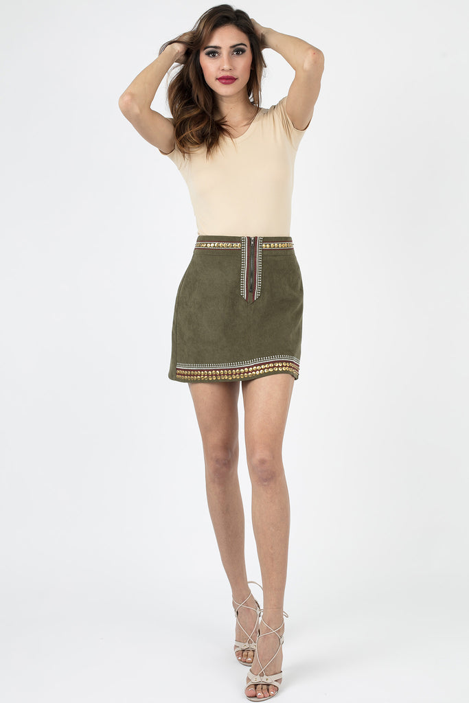 Olive Green Embroidered Skirt