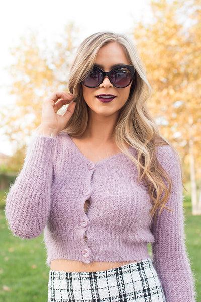 THIS IS MINE BLUSH CROP CARDIGAN