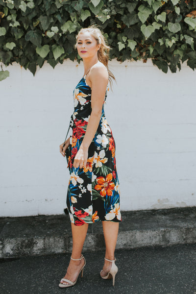 CALL TO CHARMS BLACK FLORAL DRESS