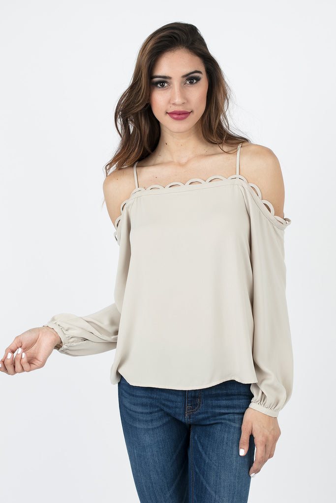 Oyster Beige Off-the-Shoulder Top