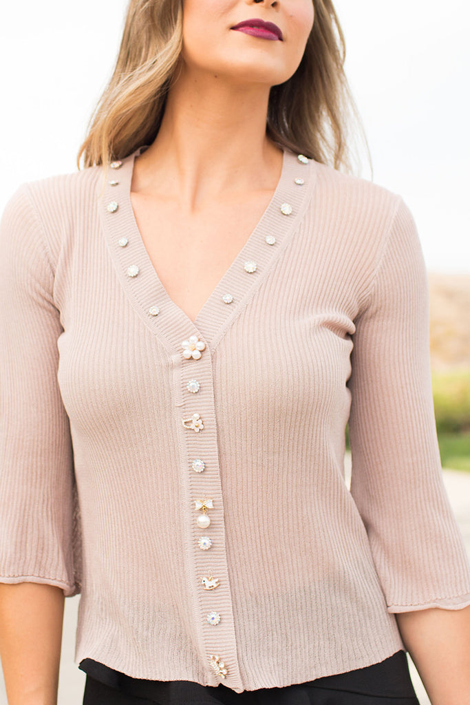 PRE-ORDER: PRECIOUS LOVE JEWELED NUDE TOP
