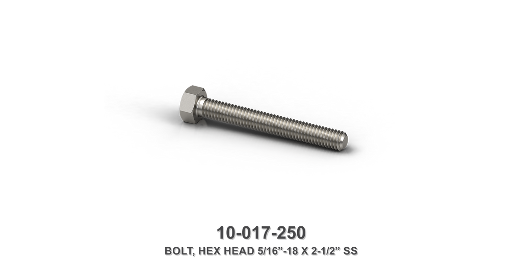 "5/16""-18 x 2-1/2"" Stainless Steel Hex Head Bolt"