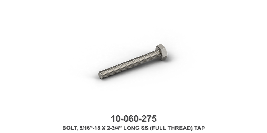 "5/16""-18 x 2-3/4"" Long Stainless Steel Full Thread Tap Bolt"