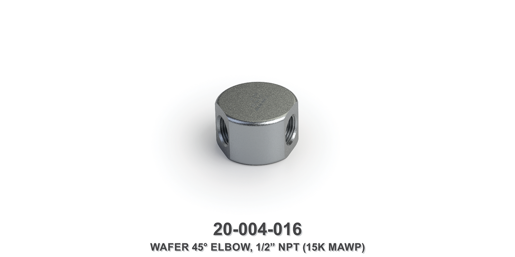 "15K MAWP 1/2"" NPT 45-Degree Wafer Elbow"
