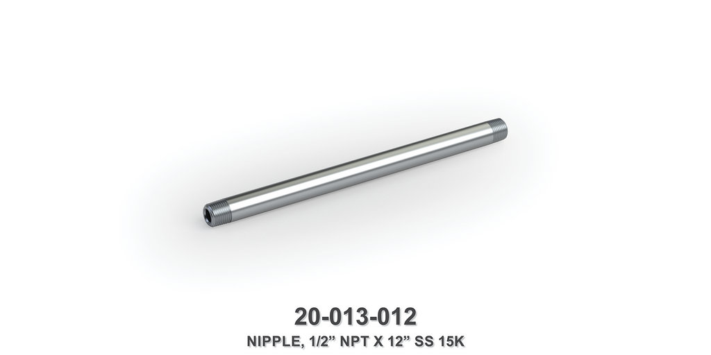 "15K 1/2"" NPT x 12"" Stainless Steel Nipple"