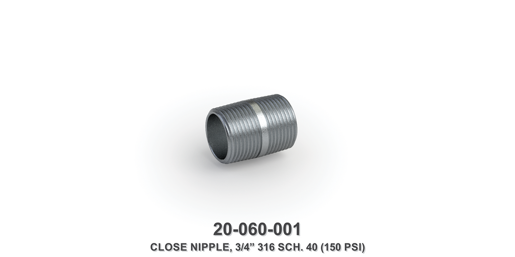"3/4"" Close Nipple, 316 SCH 40"