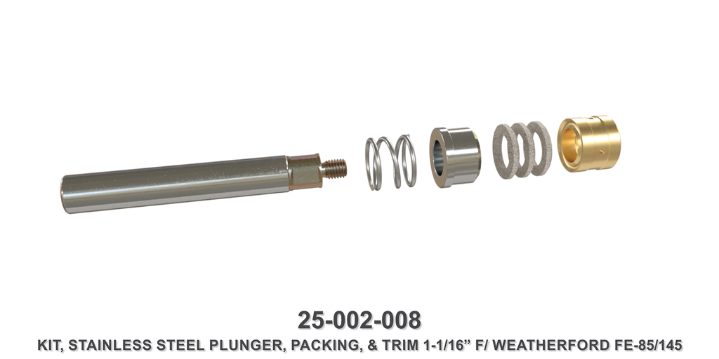 "1-1/16"" Stainless Steel Plunger Kit - Weatherford Type"