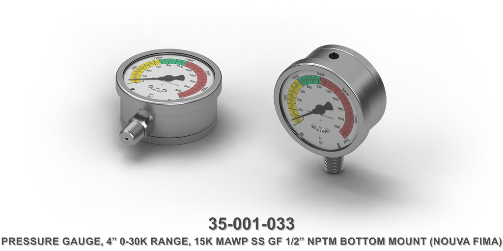 "15K MAWP Stainless Steel 4"" 0-30K Range 1/2"" NPTM Bottom Mount Pressure Gauge"