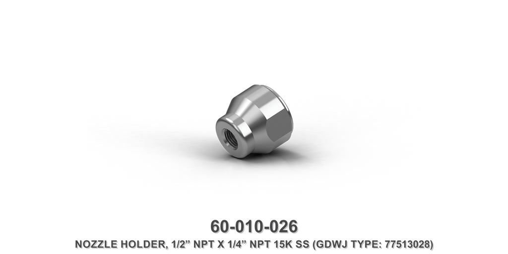 "15K 1/2"" NPT x 1/4"" NPT Stainless Steel Nozzle Holder"