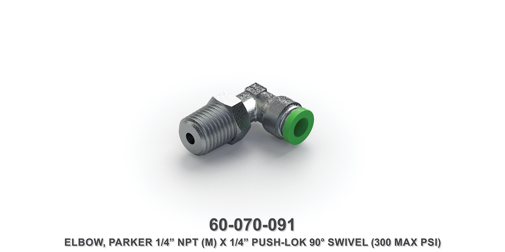 "Parker 1/4"" NPTM x 1/4"" Push-Lok 90-Degree Swivel Elbow"