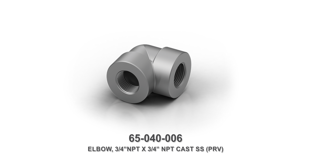 "3/4"" NPT x 3/4"" NPT Cast Stainless Steel Elbow"