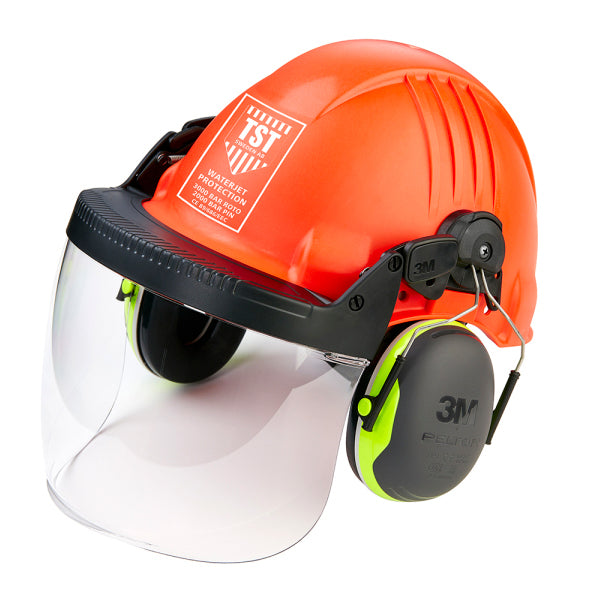 TST 20/30, 3000 BAR / 43,500 PSI HEAD PROTECTION HELMET WITH VISOR AND HEARING PROTECTORS