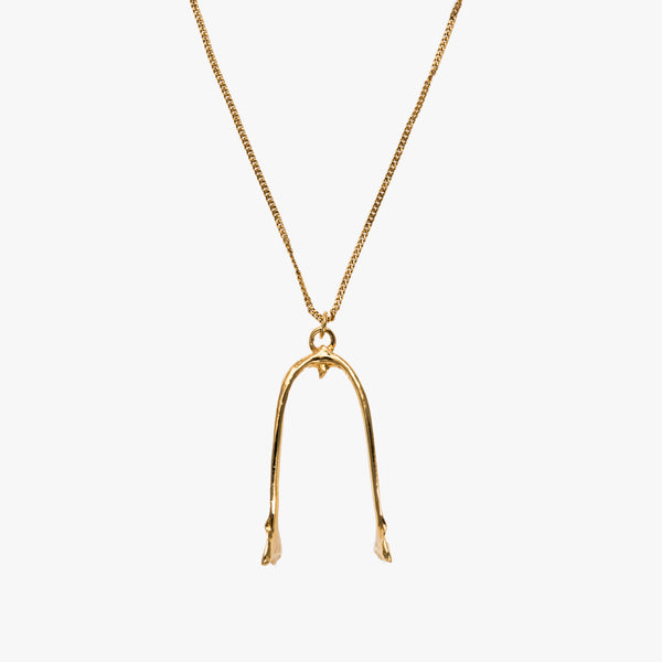 Gold Crow Wishbone Necklace