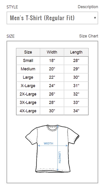 Men's T Shirt Size Chart