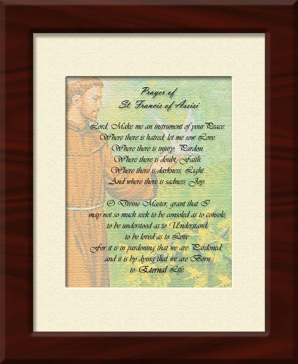 St. Francis Prayer Canvas and Frame