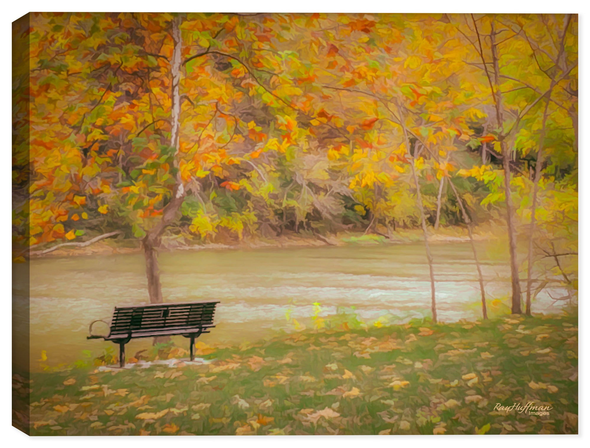 Peaceful Autumn River - Fall Colors on Canvas