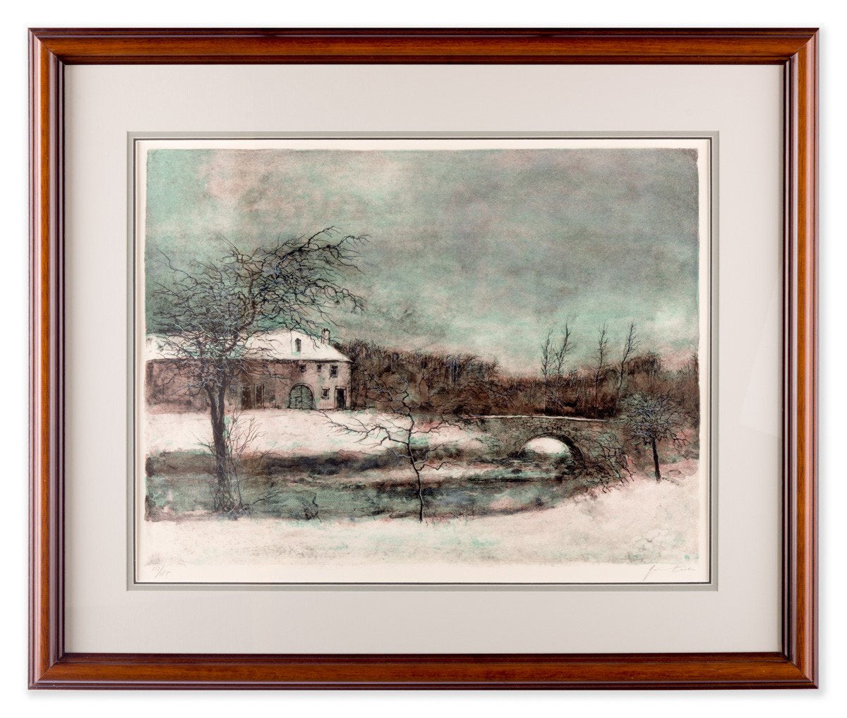 Fonte Des Neiges - by Bernard Ganter - Lithograph - Framed Art