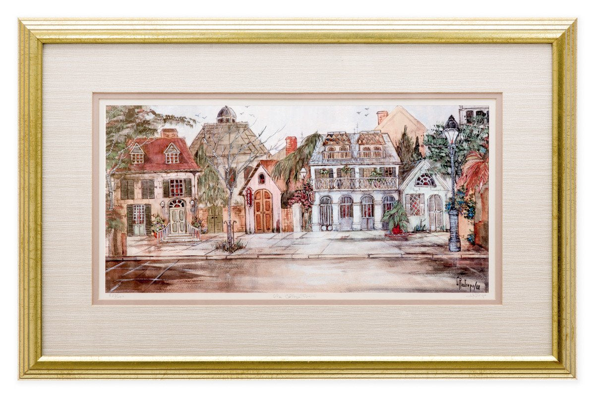 Olde College Town - by Lucretia Restrepo - Framed Art