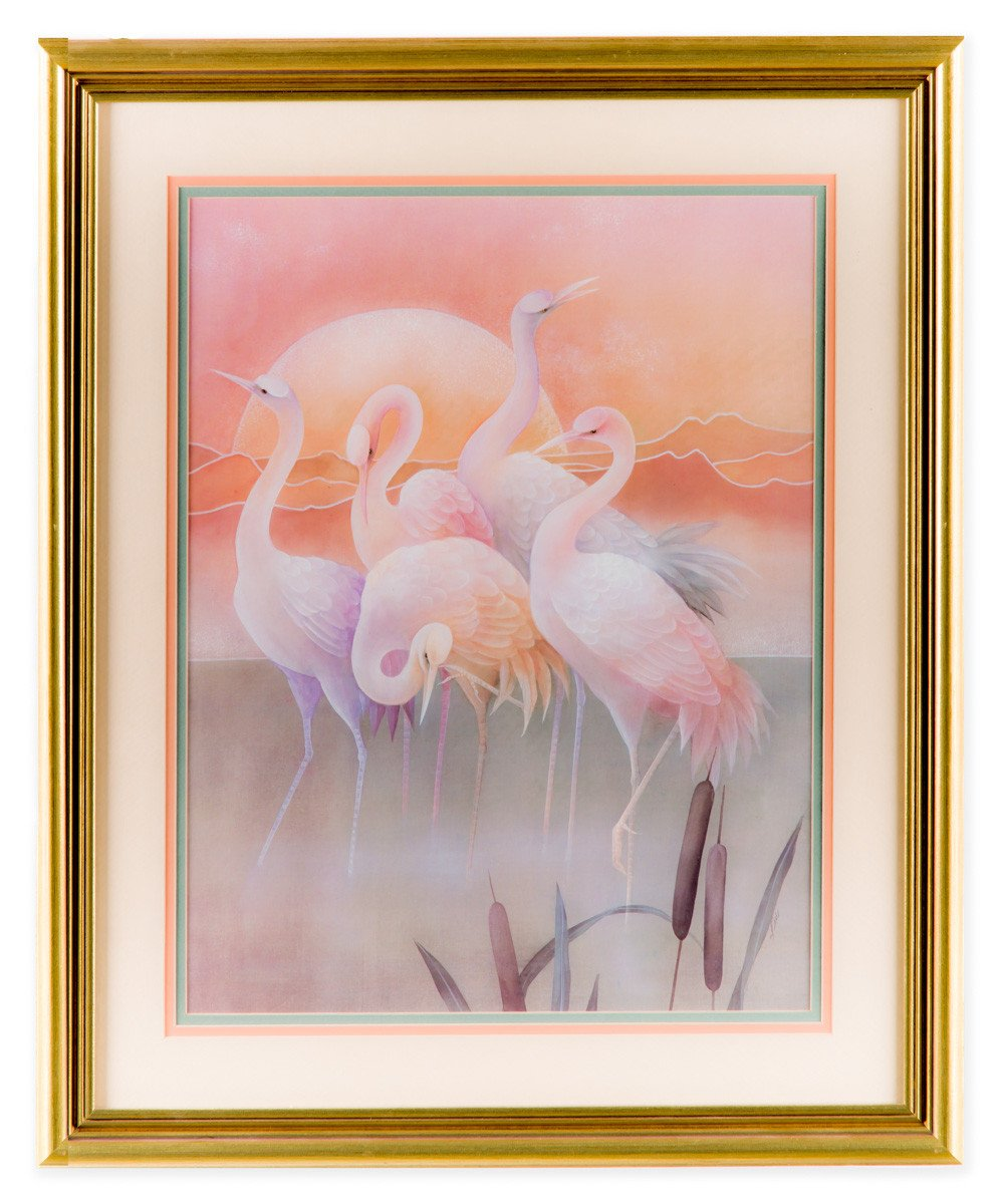 Pink Pelicans at Sunrise #1 - Fine Art Print - Framed Art - 1