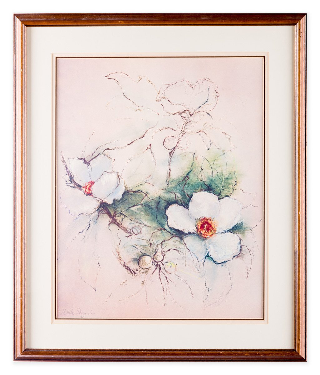 Sweet Magnolia - by Merle Izard - Lithograph - Framed Art