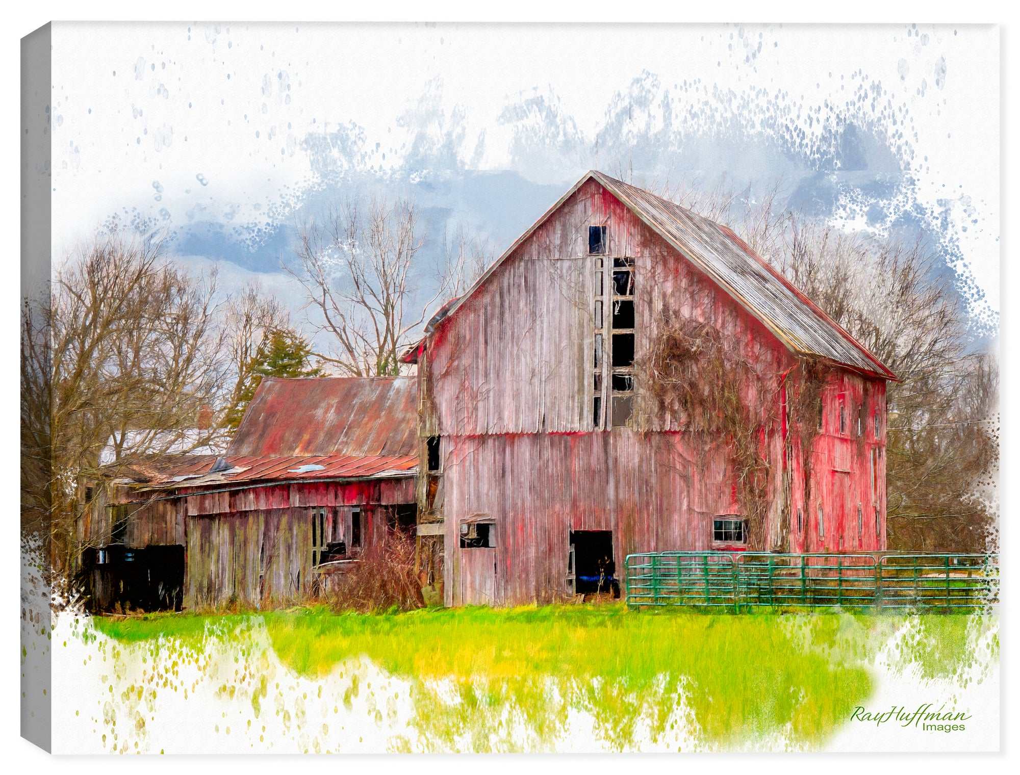 Countryside Barn - Watercolor on Canvas Painting