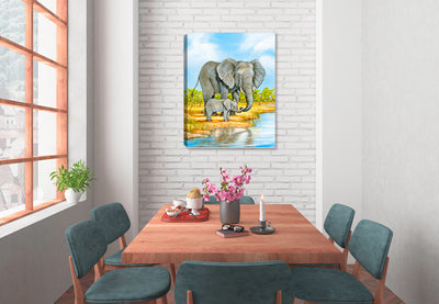 Elephant and Baby - Painting