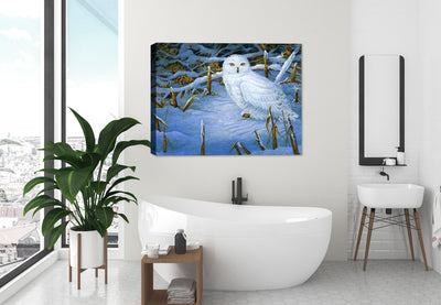 Owl Painting on Canvas in Bathroom