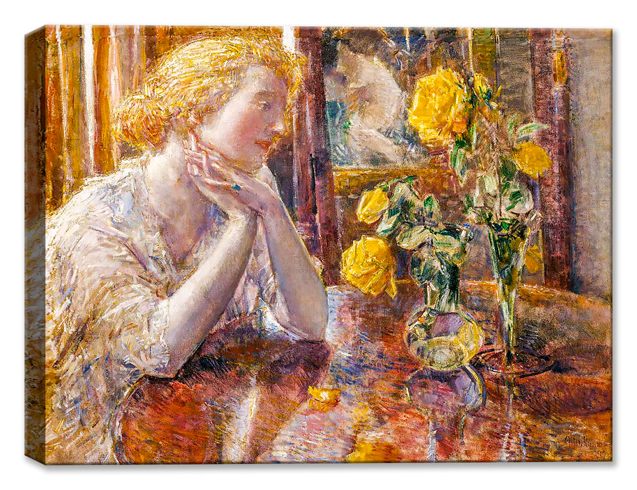 Marechal Niel Roses - Art by Childe Hassam - Canvas Art