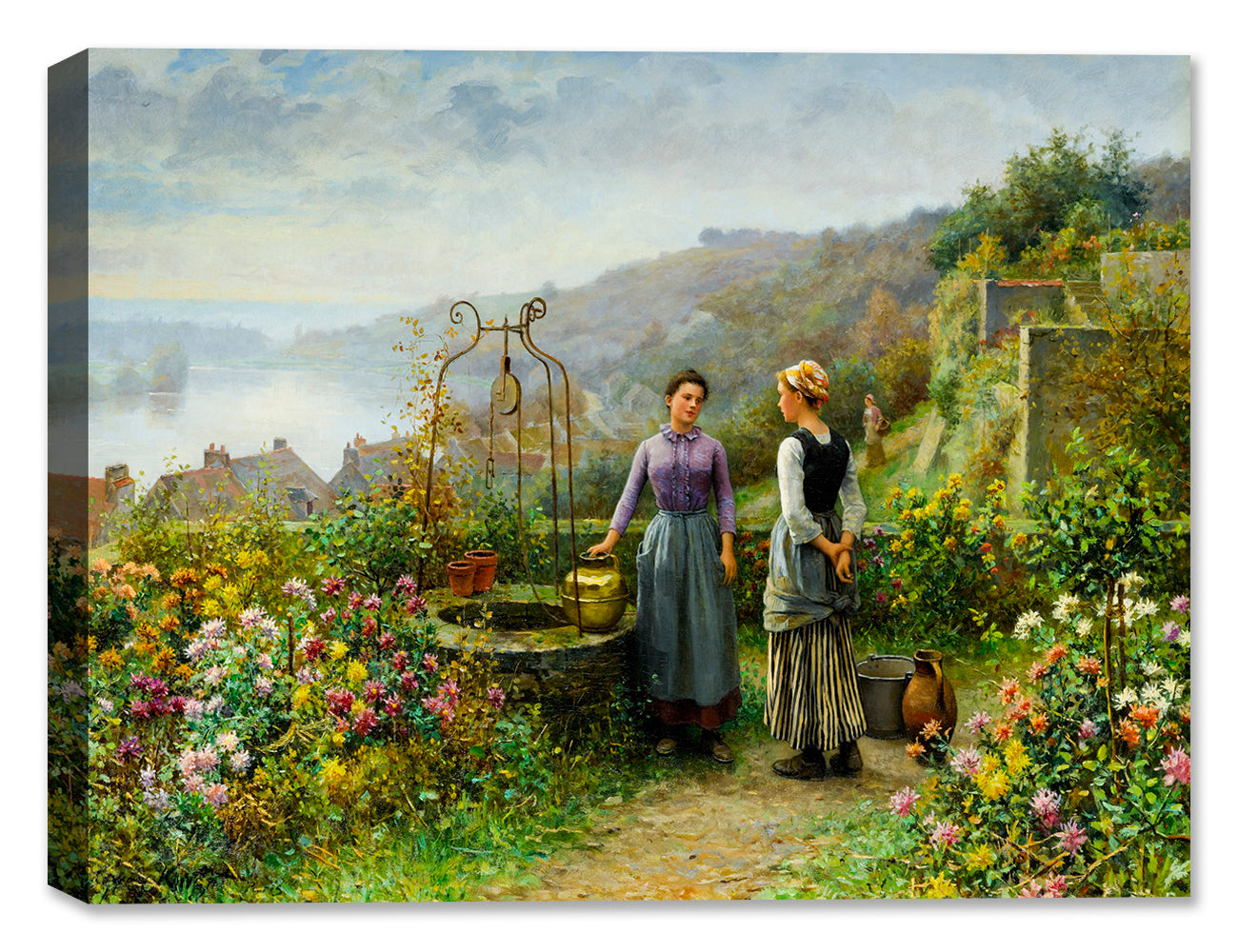Gathering at the Well - Art by Daniel Knight - Canvas Art