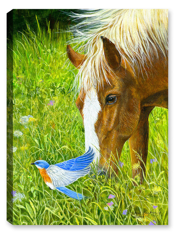 Dinner for Two - Horse and Bluebird - Canvas Art Plus