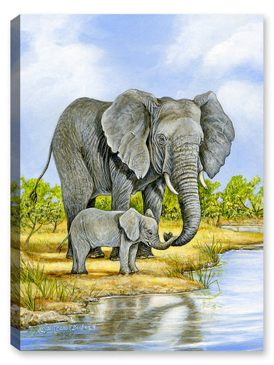 Elephant and Baby - Painting - Canvas Art Plus