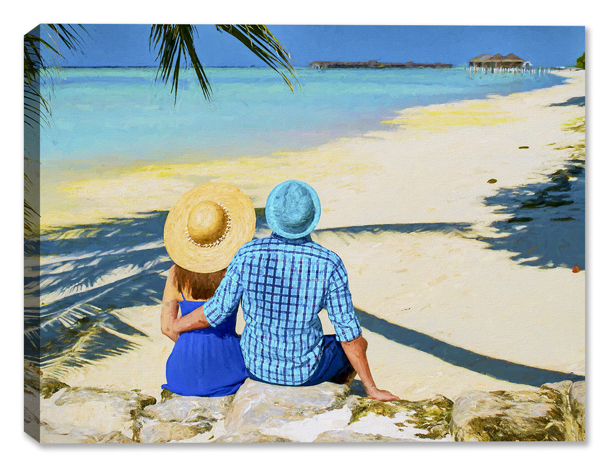 Lovers on Tropical Beach - Canvas Art Plus