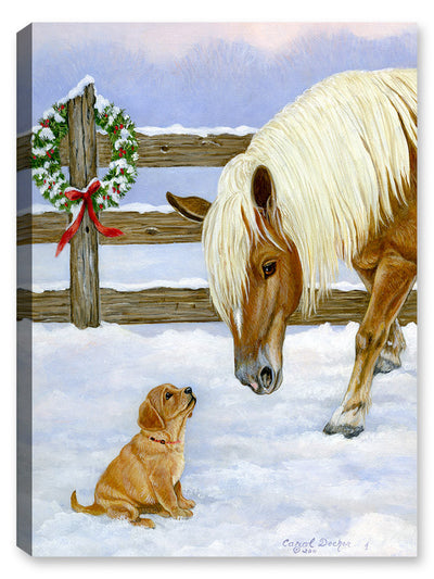 Making Friends - Horse and Lab Pup - Canvas Art Plus