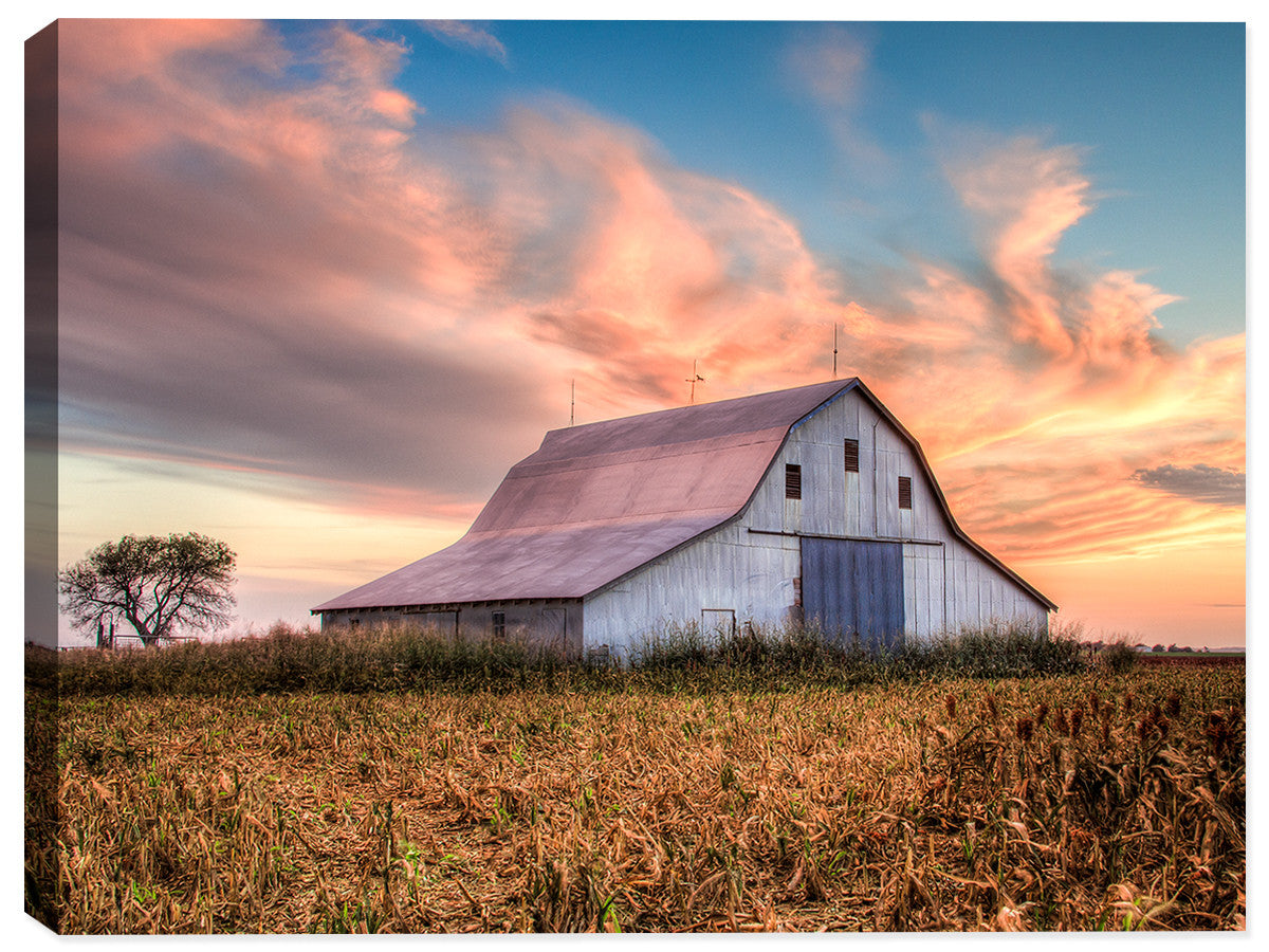 Sunset on Oklahoma  Farm  on Canvas - Canvas Art Plus