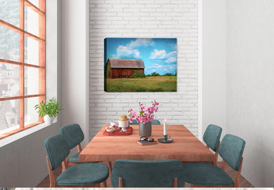 Country Barn and Blue Sky Painting on Canvas