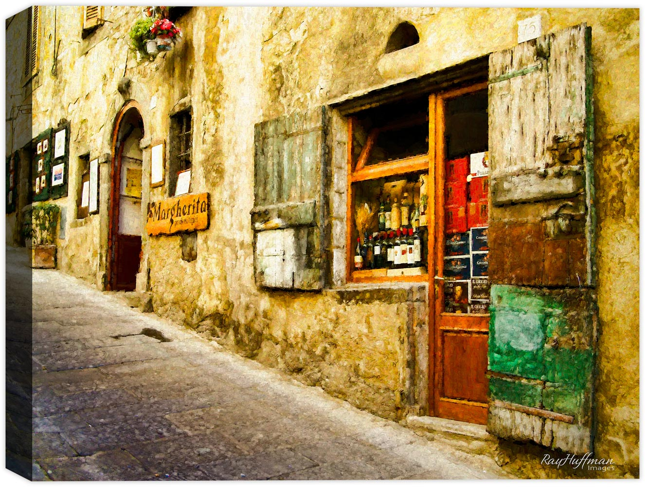 Tuscany Italy - Cafe Painted on Canvas