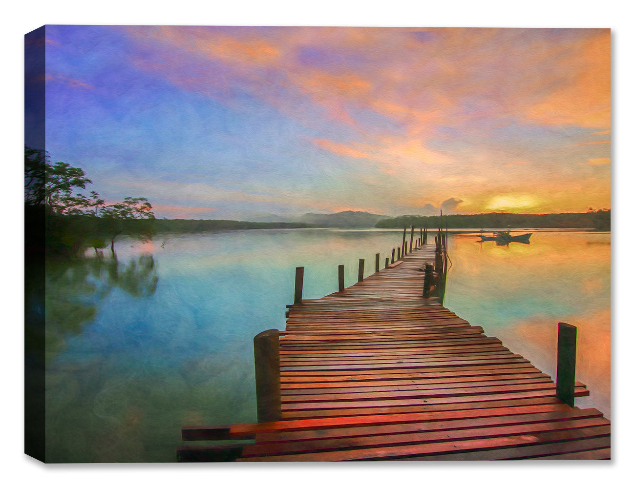 Boardwalk at Sunset on Still Waters - Oil on Canvas