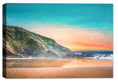 Sunset on the Ocean Painting - Canvas Art Print